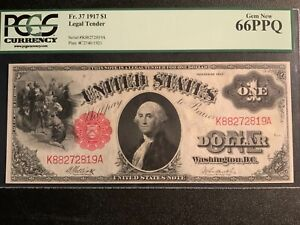 1917 $1 Legal Tender FR-37 - Sawhorse - PCGS GEM NEW 66 PPQ