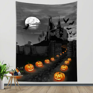 Halloween Witch Castle Pumpkin Bat Tapestry Wall Hanging For Living Room Bedroom