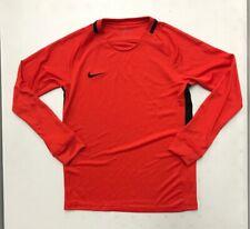 New Nike Youth Unisex M Long Sleeve Shirt Football Soccer Dri-FIT Orange Black