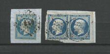 France 1854 type Napoléon III 3 timbres oblitérés 2 nuances de couleur /TR27