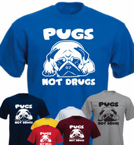 Pugs Not Drugs Pug Dog Owner New Funny T-shirt Present Gift