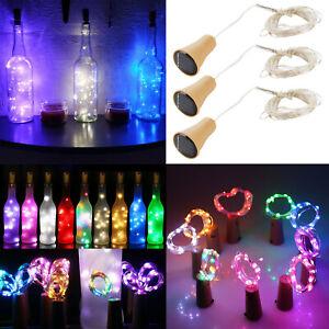 10 15 20 LED Solar Copper Cork Wire String Lights Wine Bottle Xmas Decor Lamp SA