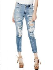 Guess Women's High Rise Flower Child Jeans Nebula Wash With Destroy Size 28