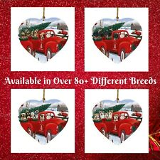 Christmas Tree Santa Express Delivery Red Truck Heart Ornament, Dogs, Cats, Pet