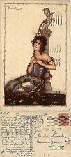 """Illustrata, Adolfo Busi,""""donna"""" ,  viaggiata 1925 buono stato"""