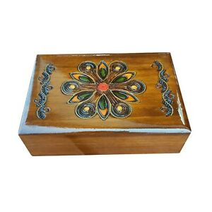 WOODEN CARVED  JEWELLERY BOX IN BROWN COLOR