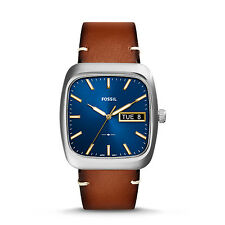FOSSIL FS5334 Rutherford Three Hand Day Date Blue Dial Brown Leather 36mm Watch