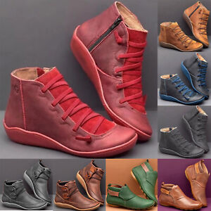 Women Ankle Boots Suede Stitch Shoes Round Toe Flat Heels Loafers Comfort Boots