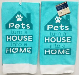 SET OF 2 SAME PRINTED MICROFIBER TOWELS, PETS TURN A HOUSE INTO A HOME, aqua, GR