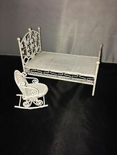 VINTAGE MINIATURE DOLLHOUSE FAUX WROUGHT IRON BED FRAME & ROCKING CHAIR