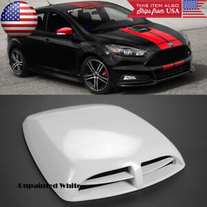 "13"" x 9.8"" Front Air Intake ABS Unpainted White Hood Scoop Vent For Ford"