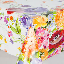 Spring Floral Pvc Vinyl Table Cloth Plain White Multi Coloured Flowers Vintage