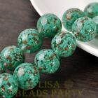 New 2pcs 20mm Lampwork Glass Dots Loose Spacer Round Beads Charms Lake Green