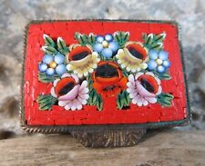 Antique Victorian Micro Mosaic Red Wild Flower Floral Italy Trinket Pill Box
