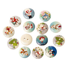 30 CUTE CHRISTMAS PAINTED NATURAL WOOD BUTTONS 15mm Sewing~embellishment  (46G)