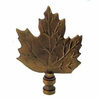 LARGE LEAF LAMP SHADE FINIAL ANTIQUE BRASS- finial thread