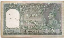 Burma 10 rupees ND (1938) King George VI #690993