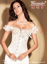 Wedding Bridal Satin Jacquard Overbust Lace Up Steel Boned Corset Top Bustier