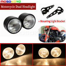 Universal Motorcycle Dual Twin Headlight Dominator Head Lamp Streetfighter Black
