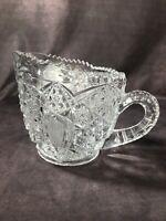 Vintage Crystal Clear Cut Glass Creamer Elegant Dining