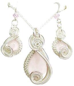 Rose Quartz & Swarovski Crystal Earrings/Necklace Set in Sterling Silver