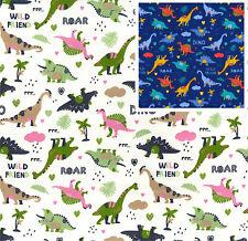 Cotton Poplin Dino Dinosaur Fabric Material - Ivory - 0796