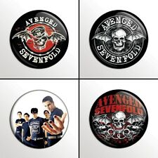 "4-Piece AVENGED SEVENFOLD (A7X) 1"" Pinback Band Buttons / Pins / Badges Set"