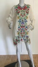 JOHNNY WAS WOMEN GALA TUNIC SIZE L WHITE EMBROIDERED