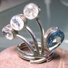 Sterling silver blue topaz & rainbow moonstone ring UK K/US 5.25-5.5