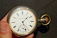 1890 Antique KEYSTONE STANDARD 18s Lever Set POCKET WATCH Coin Silver Swing-Out