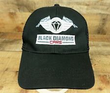Black Diamond Cars Hat Cap Auto Racing Flag Checkered Black Snapback Mesh