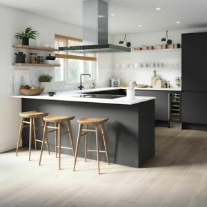 Magnet Luna Kitchen unit range Handleless Grey gloss with Quartz worktop £1999