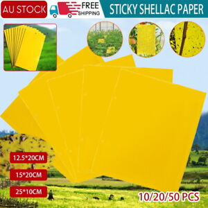 Up 100x Yellow Sticky Glue paper Insect Trap Catcher Killer Fly Aphids Wasp Lot