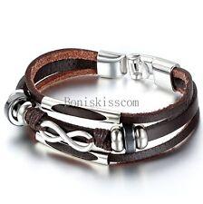 Love Infinity Symbol Charm Men's Women's Leather Bracelet Cuff Bangle Wristband