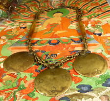 SUPERB GENUINE TIBETAN Shaman 3 x MELONG TOLI BRONZE MIRROR NECKLACE RARE