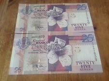 2 consecutive , uncirculated 25 Seychelles Rupees banknotes UNC