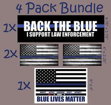 Back the Blue - Thin Blue Line - Blue Lives Matter Bumper Sticker 4 PACK Decal