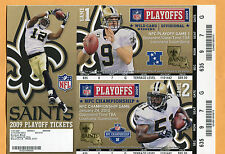2009 Championship Game and Playoff unused ticket sheet Saints Vikings Cardinals