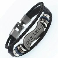 Multilayer DIESEL Bracelet Men Casual Fashion Braided Genuine Leather Bracelets
