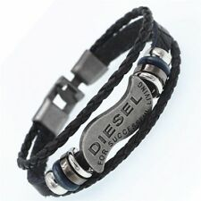 Multilayer DIESEL Bracelet Men Casual Fashion Braided Genuine Leather Bracelets