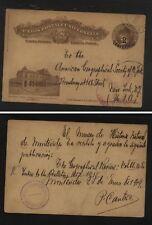 Uruguay  nice revalued postal card  to  US       MS0923