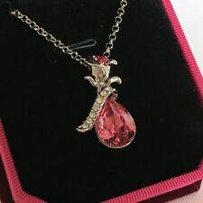 Swarovski Elements Crystal Rose Pendant Necklace Silver Diamanté Xmas Gift Box
