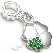 10pcs Green Lucky Clover Silver Dangle European Bracelet Spacer Charm Bead W#534