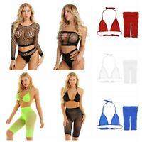 Women Fishnet Bikini Set Swimwear See Through Bra Crop Top Shorts Hot Beachwear