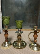 Home Interior  Wooden  Votive Candle Stick Set With Green Votives