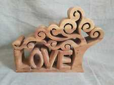 Carved RUSTIC Wooden LOVE Tree Standing Ornament Sculpture Wedding Gift