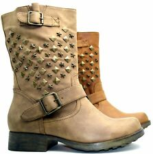 Stivaletti boots donna tronchetto con fibbie stivali alti motociclista borchie