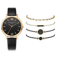 Ladies Style Fashion Women's Luxury Leather Band Analog Quartz Wrist Watch Black