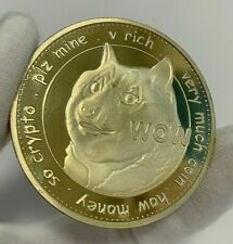 24K Gold Plated Dogecoin DOGE WOW Crypto currency coin 1.2 oz Novelty Coin