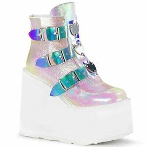 Women Platform Wedge Ankle Punk Boots Fashion Buckle Strap Goth High Heel Bootie